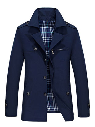 Picture of Men's Trench Coat Solid Color Single Breasted Mid Long Style Coat - XXL
