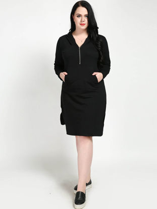 Picture of Women's Dress Solid Color Hooded Split Casual Plus Size Dress - 7XL