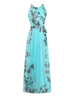 Picture of Women's Aline Dress Plus Size Floral Pattern Sleeveless Maxi Long Dress With Sash - XL