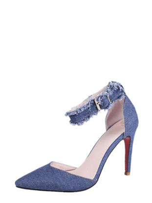 Picture of Women's High Heel Sandals Pointed Toe Denim Vintage Classic Sandals - 36