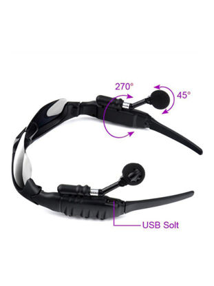 Picture of Headphone Creative Sunglasses Design Soft Bluetooth Wireless Built-In MIC Earphone - Free