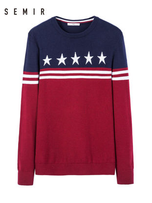 Picture of Semir Pullover O Neck Long Sleeve Star Pattern Color Block Sweater - L