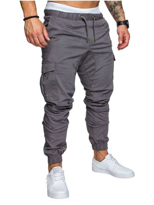 Picture of Men's Casual Pants Top Fashion Sports Style Elastic Waist Solid Color Pants - L