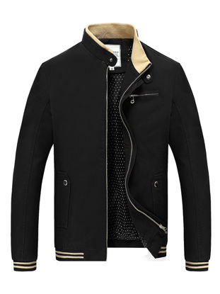 Picture of Men's Casual Jacket Zipper Decor Stand Collar Stylish Plus Size Jacket - M