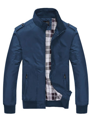 Picture of Men's Casual Jacket Stand Collar Long Sleeve Simple Mens Clothing - 4XL
