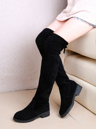Picture of Women's Above Knee Boots Solid Color Elegant Stylish Trendy Boots - 36