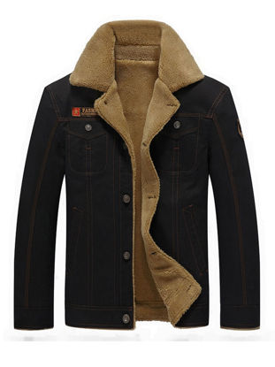 Picture of Men's Casual Jacket Thicken Warm Washing Color Style Turn Down Collar Jacket - XXL