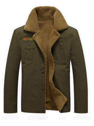 Picture of Men's Casual Jacket Thicken Warm Washing Color Style Turn Down Collar Jacket - L