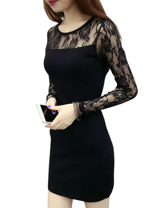 Picture of Women's Dress Lace Patchwork O Neck Solid Color Long Sleeve Dress - 3XL