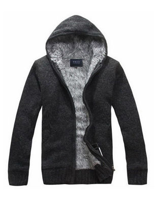 Picture of Men's Cardigan Hooded Long Sleeve Solid Color Brushed Warm Knitwear - L