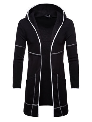 Picture of Men's Casual Jacket Hooded Long Sleeve Zipper Decor Pocketed Jacket - L