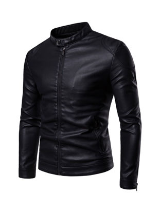 Picture of Men's Synthetic Leather Jacket Stand Collar Solid Color Slim Jacket - 3XL