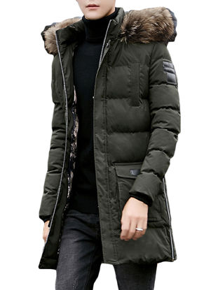Picture of Men's Quilted Coat Long Sleeve Hooded Fur Decor Plus Size Mid-Long Coat - XXL