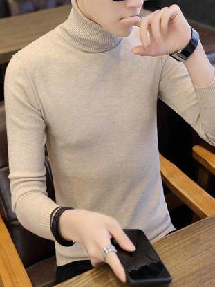 Picture of Men's Sweater Turtle Neck Long Sleeve Slim Solid Color Casual Pullover - XXL