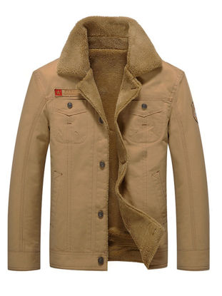 Picture of Men's Quilted Coat Turn Down Collar Buttons Opening Thicken Warm Quilted Coat - 3XL