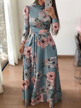 Picture of Women's Maxi Long Dress Long Sleeve Floral Pattern Aline Dress - XXL