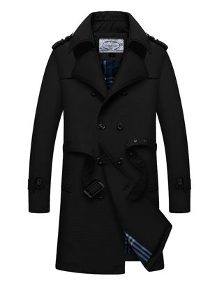 Picture of Men's Trench Coat Waistband Design Double Breasted Notched Neck Plus Size Trench Coat - XL