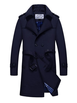 Picture of Men's Trench Coat Waistband Design Double Breasted Notched Neck Plus Size Trench Coat - M