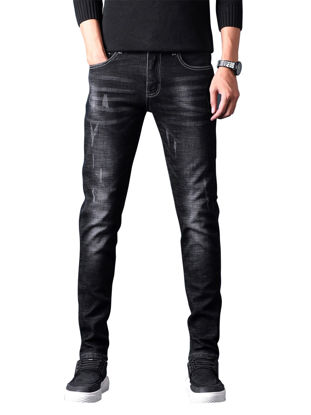 Picture of Men's Jeans Solid Color Mid Waist Elastic Thicken Jeans - 33