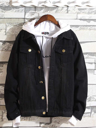 Picture of Men's Denim Jacket Turn Down Collar Long Sleeve Solid Color All Match Chic Jacket - L