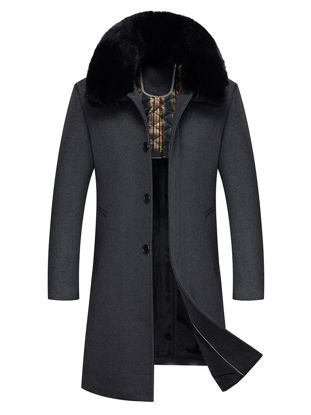 Picture of Men's Wool Blends Coat Plush Collar Single Breasted Business Warm Overcoat - XL