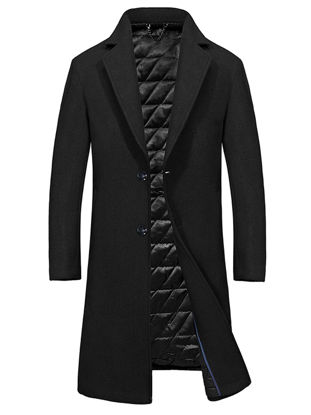 Picture of Men's Coat Solid Color Loose Notched Single Breasted Coat - M