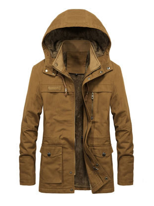 Picture of Men's Casual Jacket Fashion Thicken Hooded Long Sleeve Jacket - XL
