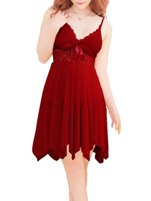 Picture of Women's Babydolls V Neck Sleeveless Lace Hollow Out Bow Sexy Slip Dress With Thong - Free