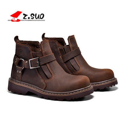 Picture of Z SUO Men's Ankle Boots Round Toe Buckle Design Wearable Vintage Fashion Shoes - 41