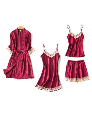 Picture of Women's 4Pcs Sleepwear Set Silk Like Lace Hem Slip Dress Camisole Shorts Robe Set - XL