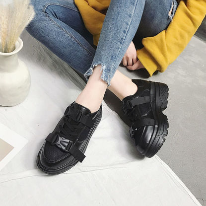 Picture of Women's Sports Shoes Comfy Non-Slip Thick Soles Solid Color Shoes - 39