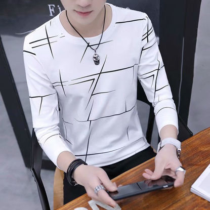 Picture of Men's T-Shirt O Neck Long Sleeve Printed Fashion Top - XL