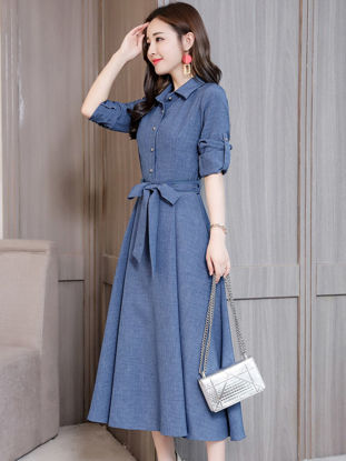 Picture of Women's Aline Dress Fashion Turn Down Collar Long Sleeve Dress - S