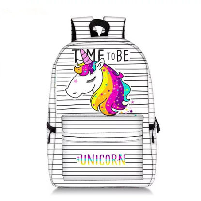 Picture of Kid's Backpack Bag Striped Cartoon Animal Pattern Large Capacity Boy's School Bag - One Size
