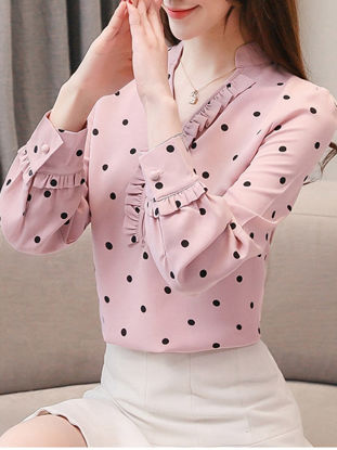 Picture of Women's Blouse V Neck Polka Dot Long Sleeve Top - L