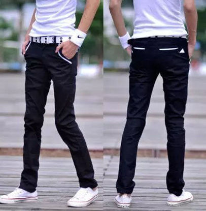 Picture of Men's Jeans Front Pocket Slim Fit Long Denim Pants - 32