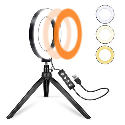 Picture of LED Light Dimmable 3 Lights Mode 360 Degree Rotating LED Ring Light
