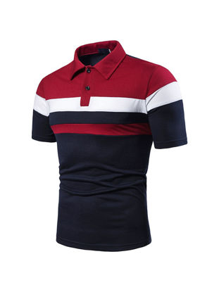 Picture of Men's Polo Shirt All-Match Short Sleeve Patchwork Simple Top - XXL