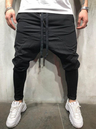 Picture of Men's Casual Pants Solid Color Drawstring Waist Ankle Tied Pants - L