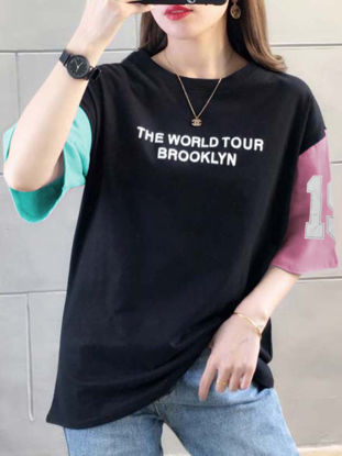Picture of Women's T Shirt O Neck Half Words Pattern Patchwork Top - 3XL