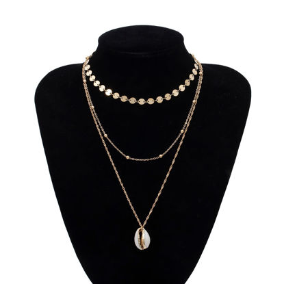 Picture of Women's Multi-Layer Necklace Simple Shell Design Sequins Decor All Match Accessory - One Size