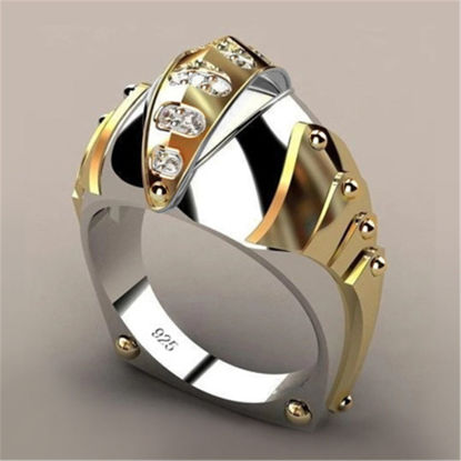 Picture of Men's Ring Creative Design Patchwork Rhinestone Decor Accessory - 10