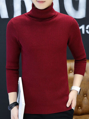 Picture of Men's Sweater Turtle Neck Solid Color Fashion Knitwear - XXL