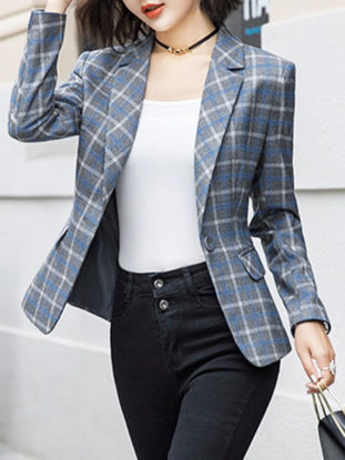 Picture of Women's Blazer Long Sleeve Plaid Patchwork Coat - XXL