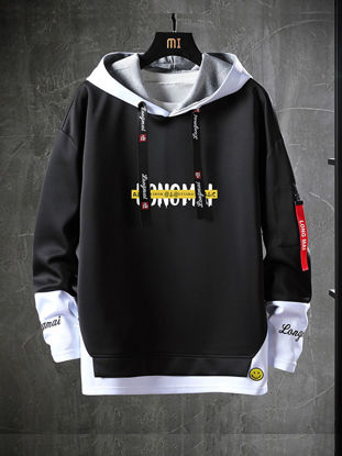 Picture of Men's Hoodie Long Sleeve Hooded Letter Patchwork Hoodie - L