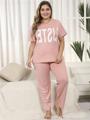 Picture of Women's Pajamas Set Plus Size Short Sleeve Pants Letter Comfy Casual Home Set - 5XL