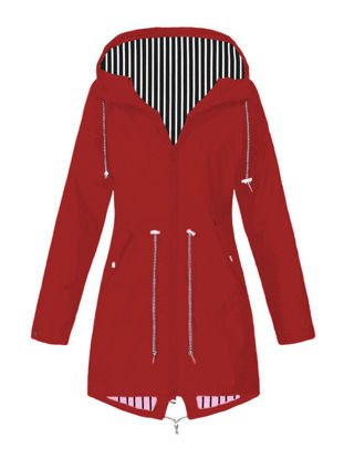 Picture of Women's Trench Coat Long Sleeve Striped Pocket Outerwear - XL