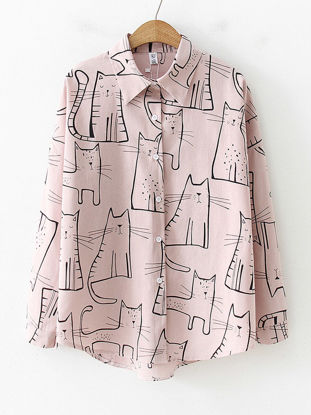 Picture of Women's Shirt Casual Animal Long Sleeve Top - M