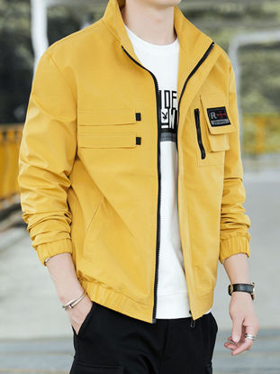 Picture of Men's Bomber Jacket Casual Long Sleeve Words Jacket - XL
