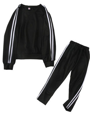 Picture of Women's 2 Pcs Sports Set O Neck Long Sleeve Striped Pattern Sweatshirt Casual Pants Set - 4XL